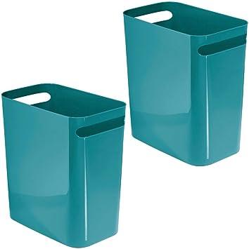 ba/ño o como papelera oficina mDesign contenedor basura con asas Ideal para la cocina Cubo de basura de pl/ástico en color amarillo