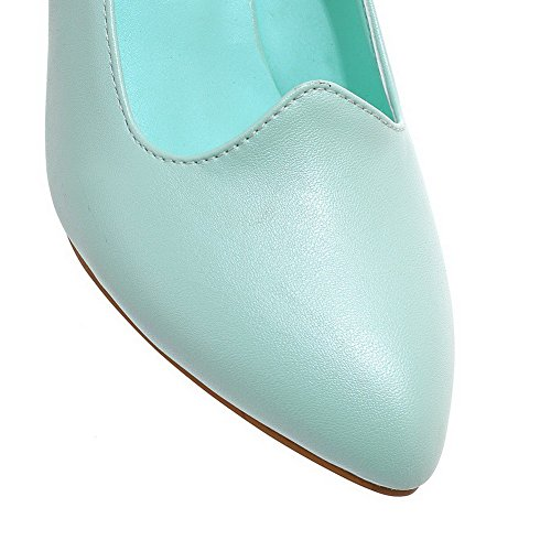 VogueZone009 Women's Soft Material Pointed Closed Toe Kitten-Heels Buckle Solid Pumps-Shoes Blue 8RN9Z