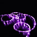 LAFEINA Solar Rope Lights, 39ft 100 LED Waterproof Copper Wire Fairy String Lights for Indoor Outdoor, Patio, Yard, Garden, Christmas, Tree Decoration (Purple)