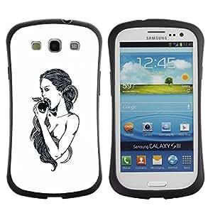 "Hypernova Slim Fit Dual Barniz Protector Caso Case Funda Para SAMSUNG Galaxy S3 III / i9300 / i747 [Manzana Eva Dios Eden Blanco Negro""]"