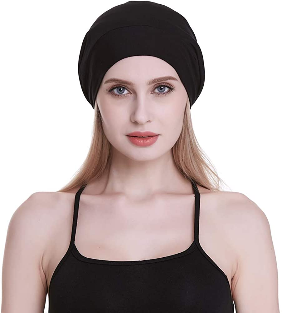 Black Slouchy Beanie Headwear Lightweight Bamboo Satin Night Sleep Turban Satin Caps for Natural Hair: Clothing