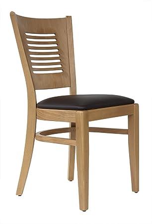 Elegant Abritus Set 2 Stühle Stuhl Buche Holz Honig Eiche Gepolstert Braun »TG004«