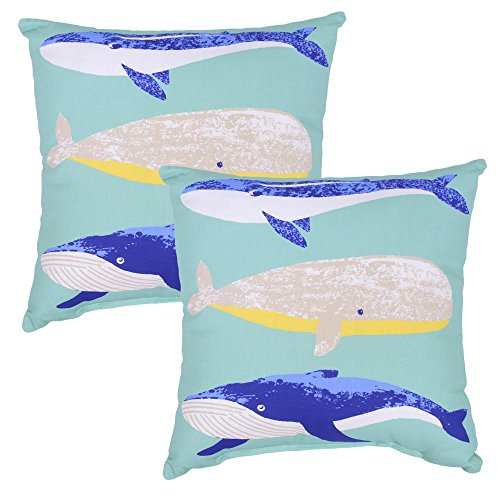 Plantation Patterns Whale Square Outdoor Throw Pillow (Pack of 4)