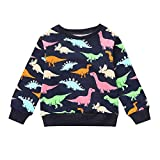 POIUDE Clearance Boy Clothes Baby Boy Girl Long Sleeve Autumn Dinosaur Print Tops Warm Sweatshirt(Navy, 6-7Years)