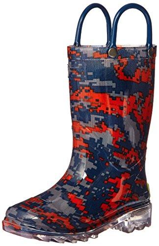 Western Chief Boys' Light-Up Waterproof Rain Boot, Digi Camo, 8 M US Toddler