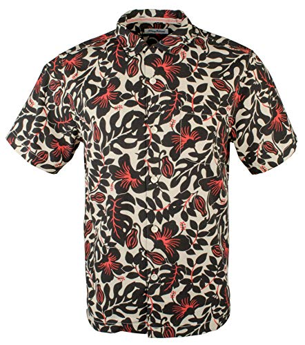 Tommy Bahama Island Zone Terra Fronds Silk Blend Camp Shirt (Color: Black, Size XL)