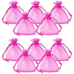 PH PandaHall 100pcs Rectangle Organza Gift Bags Drawstring Pouches for Wedding Party Christmas Warp Favor Gift Bags Magenta 9x7cm