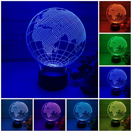 3D LED Lamp,Globe Earth 3D Illusion lamp Night Light 7 Color Light for Kids and Home Decoration