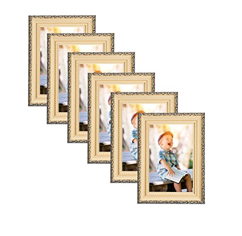 Unique Plated Beaded Border Gold Picture Frames (6 pc) Display with Photo Glass Front, Easel Back, Hanging Clip (Set of 6, 5x7)