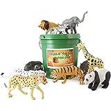 WellPackBox Green Bucket Jungle Safari Animal Zoo Wild Bucket 12 Large Plastic Animal Toys Easy Pick Up Storage