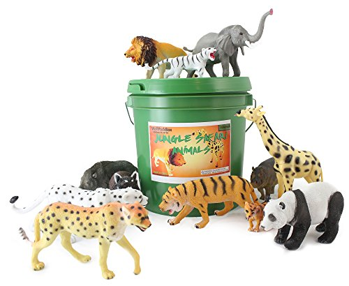 Plastic Zoo - Well Pack Box Green Bucket The Jungle Safari Animal Zoo Wild Bucket 12 Large Plastic Animal Toys Great For Playing On The Beach Or In The Living Room