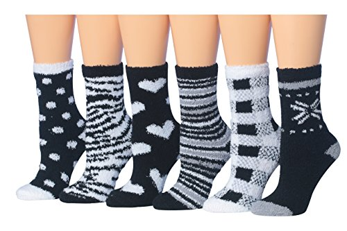Tipi Toe Women's 6-Pairs Black And White Monochrome Anti-Slip Soft Fuzzy Winter Crew Home Socks, (sock size 9-11) Fits shoe size 6-9, ()