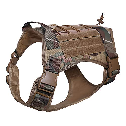 Kylebooker Tactical Dog Harness,K9 Working Dog Vest,No Pulling Front Clip Leash Attachment (XL (35