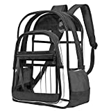 Upgraded Version - NiceEbag Clear Backpack for School Work Travel Heavy Duty Transparent Backpack Large Clear Bookbag for Women Men Girls Boys Adults, TSA/Stadium Approved, See Through, Black