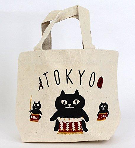 mini tote bag inside pocket TOKYO SUMO CATS natural NarumiKK Narumi
