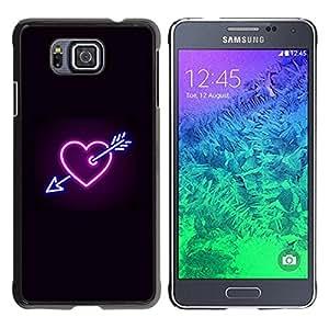 Caucho caso de Shell duro de la cubierta de accesorios de protección BY RAYDREAMMM - Samsung GALAXY ALPHA G850 - Heart Neon Black Heartbreak Sign Cool