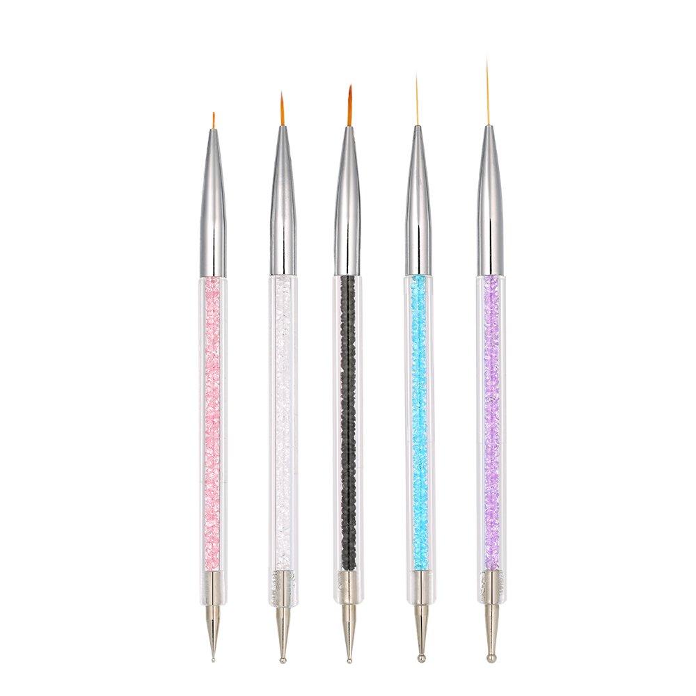 Anself Nail-Art-Pinselset, zum Zeichnen von Motiven auf den Nägeln, geeignet für Acrylnägel, mit Nylonfasern, für die Maniküre für die Maniküre