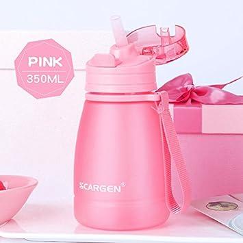 UPSTYLE sin BPA plástico niños Mini Deportes botella de agua con paja y cuerda para niña