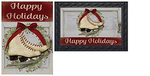 Briarwood Lane Happy Holiday Skates Christmas Wreath Garden Flag & Doormat Set (Christmas Doormats Frontgate)