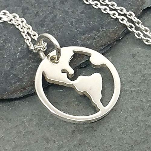 (Tiny America Earth Cutout Necklace - 925 Sterling Silver)
