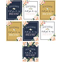 Will You Be My Bridesmaid Stickers or Wine Bottle Labels Bridal Party Maid of Honor Proposal Ideas, Ask Your Bridesmaids To Be In Wedding Gifts, Gold White & Navy I Can't Say I Do Without You
