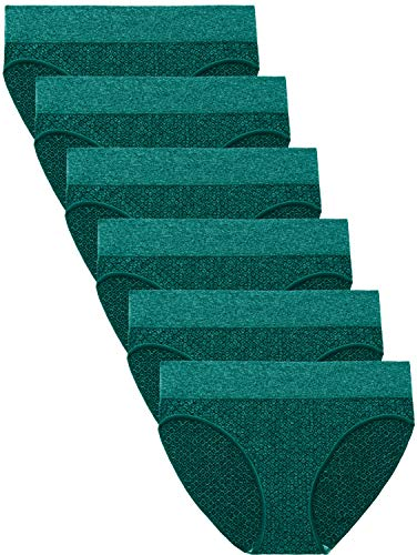 Areke Womens 6 Pack Seamless Low-Rise Bikini Panties, Soft Stretch No Show Hipster Brief Underwear for Ladies Color Green 6 Packs Size M -