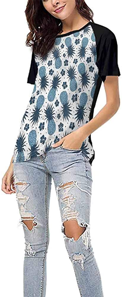 Mangooly T Shirts,Pineapple,Sketch Style Fruits S-XXL Womens Shorts