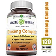 Amazing Nutrition Ginseng Complex - 1000 mg per Serving - Supports Healthy Immune Function, Brain Health, Promotes Energy Performance and More - 120 Capsules Per Bottle (Non-GMO,Gluten Free)