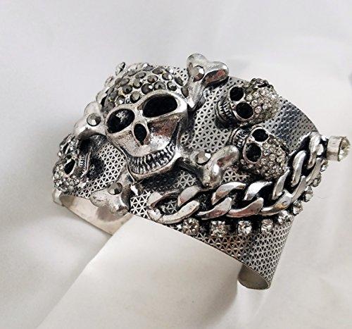 Mister Nostalgia SKULL & CROSSBONES Jeweled Bracelet Gothic Fashion Jewelry Halloween + Fun