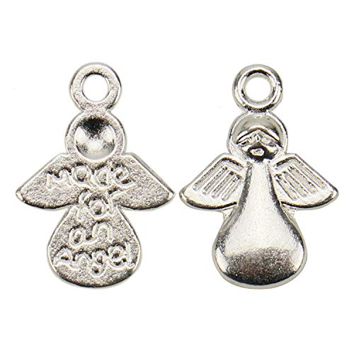 JETEHO 100pcs Silver 13x17mm Wings Angel Fairy Charms Pendants for Crafting, Jewelry Findings Making Accessory