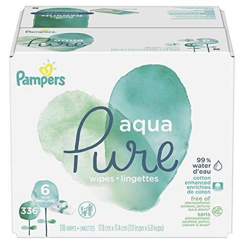 Pampers Aqua Pure 6 Pop-Top Packs Sensitive Water Baby Wipes, Hypoallergenic and Unscented, 336 Count