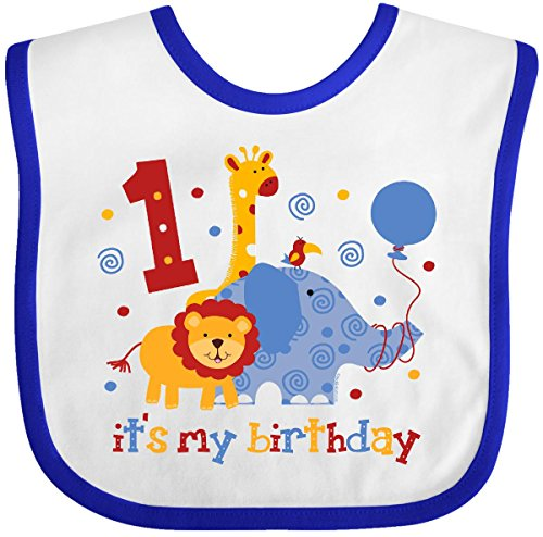 Inktastic - Safari 1st Birthday Baby Bib White/Royal 60e4