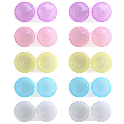 Estuche de lentes de contacto ETSAMOR 20 pcs Caja de lentes de contacto kit de viaje y casa estuche para lentillas Izquierda y derecha