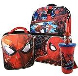 """Marvel Spider-Man 16"""" Kids' Backpack Lunch Bag & Pencil Case Set w/Water Bottle"""