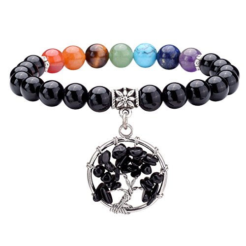 Jovivi 7 Chakra Healing Crystal Bracelet, Yoga Meditation Round Black Agate Beads Tree Life Charm & Gift Box
