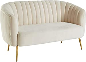 Benjara Benzara Fabric Upholstered Loveseat with Metal Splayed Legs, Ivory and Gold