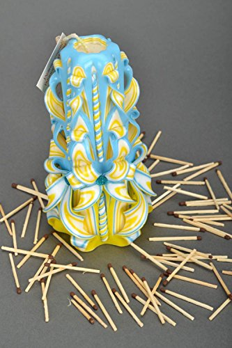 Large Carved Candle ''Blue And Yellow'' by MadeHeart | Buy handmade goods