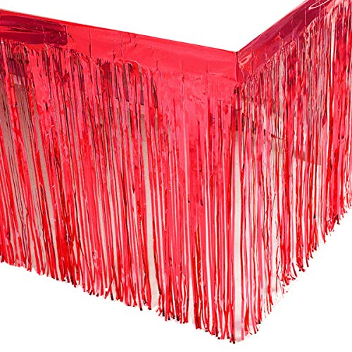 Leegleri 2 Pack Red Metallic Foil Fringe Table Skirt Tinsel Party Plastic Table Skirt Banner for Parade Floats Mardi Gras Party Decoration(L108 inH 29in) ()