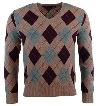 Polo Ralph Lauren Mens Lambs Wool Argyle V-Neck Sweater - XXL - Brown/Burgundy/Green