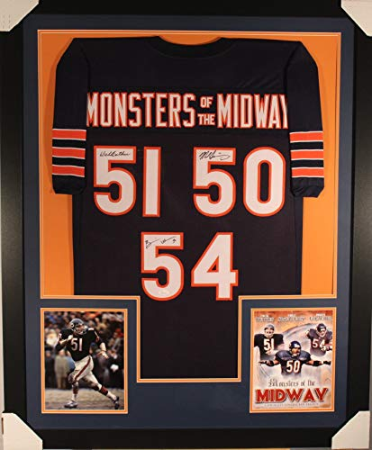 Brian Urlacher Dick Butkus Mike Singletary Chicago Bears TRIPLE Signed Autograph Custom FRAMED Jersey JSA Witnessed ()