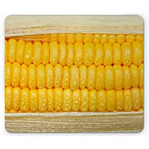 Health Mouse Pad by Ambesonne, Corn Cob Stem with Raindrops Water Marks Mexican Vegetable Photo Artwork Image, Standard Size Rectangle Non-Slip Rubber Mousepad, Yellow and Cream