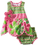 Mud Pie Baby-Girls Newborn Little Sprout Petal Top and Bloomer Set, Multi-Colored, 0-6 Months