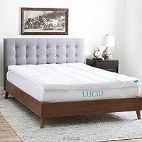 LUCID Plush Down Alternative Fiber Bed Topper-Allergen Free-Queen Size