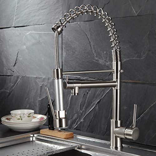 Fapully Contemporary Spring Single Handle Kitchen Sink Faucet with Pull Down Sprayer, Brushed Nickel