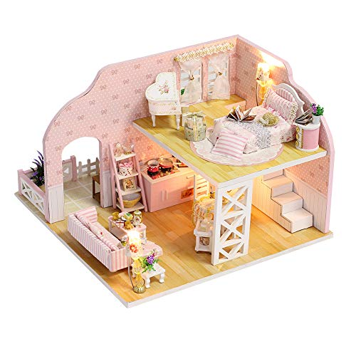 ROBOX Dollhouse DIY Miniature Kits 1/24 Scale 3D Wooden Craft Models Hand Assembly Cute Room Tiny House Pink Miniatures Loft Building with LED Lights and Dust Cover