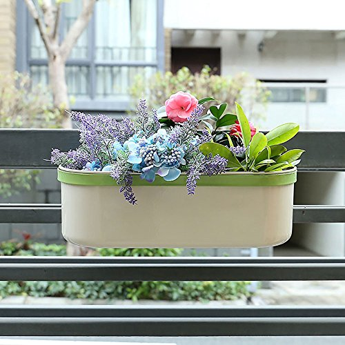 Cheap Hot Sale Z1217 Metal Cream White Home Garden Gifts/Oval Hanging Flowerpot/Planter/Garden Pot With Shelf