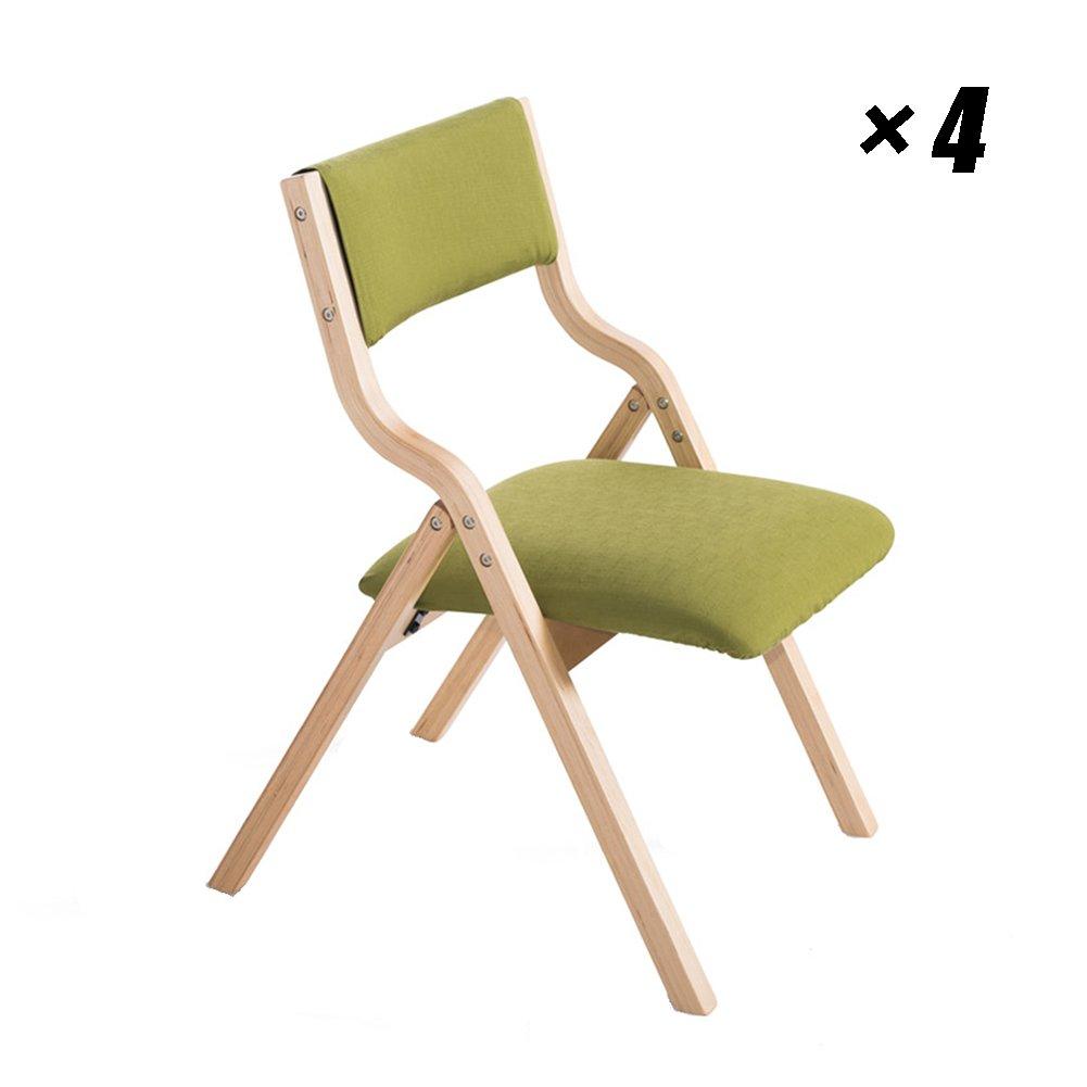 折りたたみ式ダイニングチェアソリッドウッドキッチンシートモダンラウンジは、家庭、カフェ、レストラン、オフィスのパッドチェア48.5×46×78.5cm (色 : 木の色, サイズ さいず : Set of 4) B07F36SCMF Set of 4|木の色 木の色 Set of 4