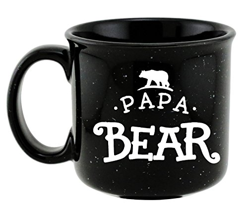Care Bears Mug - Shop4Ever Papa Bear Novelty Campfire Speckled Ceramic Coffee Mug Tea Cup Gift ~ Father's Day ~ (Black/White, 15 oz.)