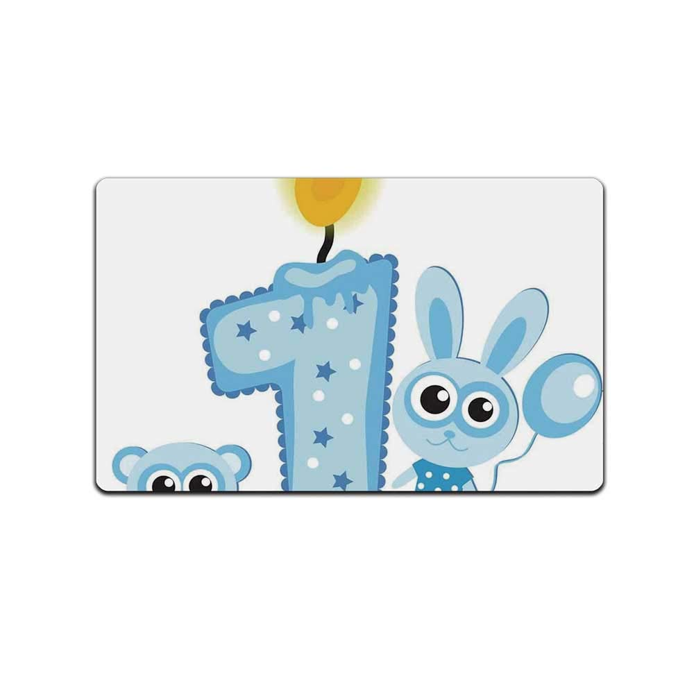 YOLIYANA 1st Birthday Decorations Doormat,Boys Party Theme with a Cake Candle Rabbit and Bear for Kitchen,31'' Lx19 W