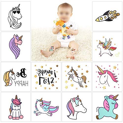 "Metallic Unicorn Temporary Tattoos For Girls Children Kids(12Pack),Konsait Great Unicorn birthday Accessories Goody Party Pinata Filler Toys Xmas Gift, Unicorn Party Supplies Girls Party Favors-2""X2"" -"